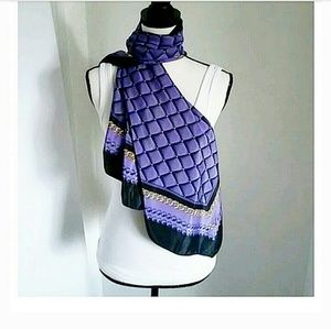 Accessories - Quilt Pattern Purple, Black and Gold Scarf